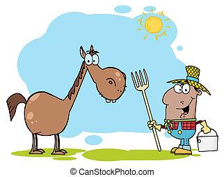 pretas, feliz, agricultor, cavalo