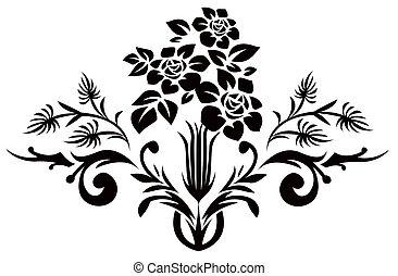 pretas, flor, silueta, padrão