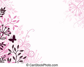 pretas, floral, fundo, cor-de-rosa, fundo
