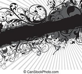 pretas, floral, fundo