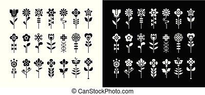 pretas, floral, jogo, ícone, vetorial, branca