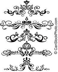 pretas, floral, ornamentos