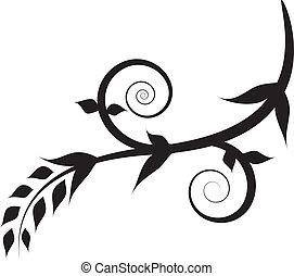 pretas, floral, redemoinho, planta