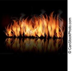 pretas, fogo, vetorial, experiência.