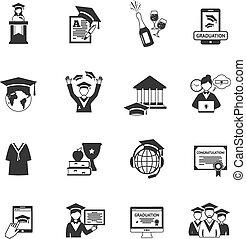 pretas, graduação, ícones
