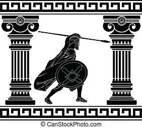 pretas, guerreira, com, com, colunas