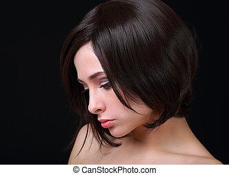 pretas, hair., bonito, excitado, mulher, com, cabelo curto, cut., closeup, retrato