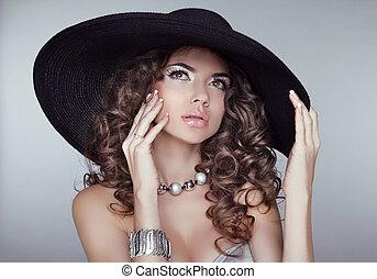 pretas, hat., menina, fundo, hairstyle., cinzento, isolado, elegante, retrato, excitado, acessórios, mulher, beleza, jóia, ondulado
