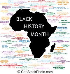 pretas, história, mês, colagem