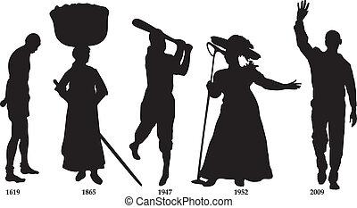 pretas, história, timeline, bandeira