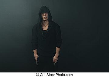 pretas, hoodie, homem, elegante