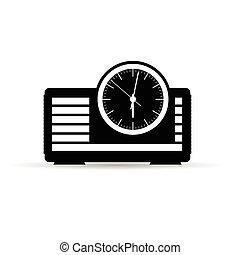 pretas, ilustração, radio-clock