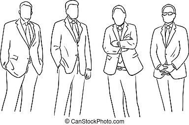 pretas, isolado, linhas, gesto, fundo, doodle, diferente, desenhado, branca, homem negócios, esboço, vetorial, ilustração, mão, ficar, quatro