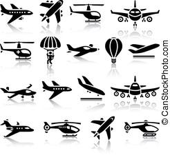 pretas, jogo, aeronaves, ícones