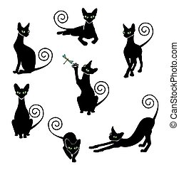 pretas, jogo, silueta, gato