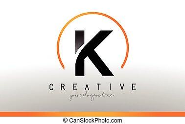 pretas, k, modernos, color., desenho, letra, laranja, logotipo, fresco, template., ícone