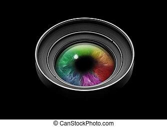 pretas, lente câmera, com, multicolored, olho