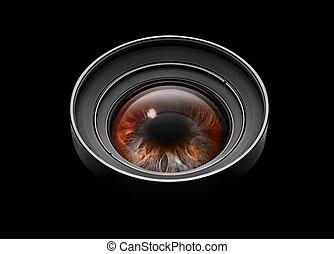 pretas, lente câmera, com, olho, ligado, mundo