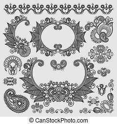 pretas, linha arte, ornate, flor, desenho