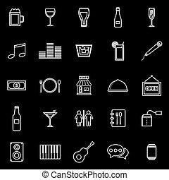 pretas, linha, barzinhos, fundo, ícones