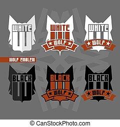pretas, lobo branco, emblemas