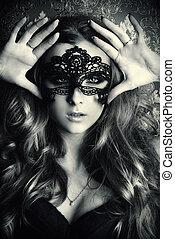 pretas, máscara, rosto