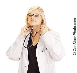 pretas, médico, estetoscópio, doutor