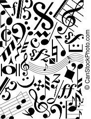 pretas, música, sinais