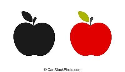 pretas, maçã, icons., vermelho