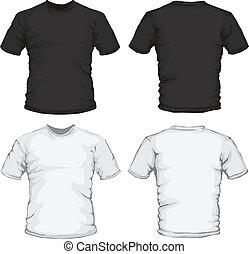 pretas, macho branco, desenho, camisa