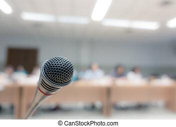 pretas, microfone, em, quarto conferência, (, filtrado,...