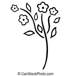 pretas, miosótis, brotos, abstratos, vector., floral, doodle, leaves., bonito, selvagem, quatro, stylized, flower., jardim, florescer, florescendo, branca