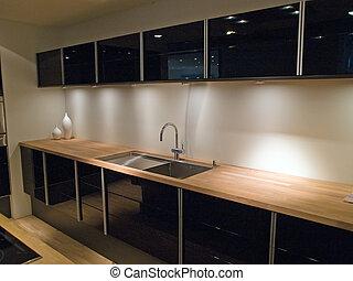 pretas, modernos, madeira, trendy, desenho, cozinha