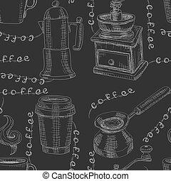 pretas, moedor, copo, giz, café, desenhado, experiência., vetorial, padrão, seamless, imagem