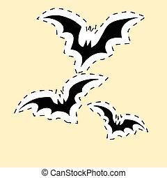 pretas, morcegos, etiqueta, adesivo