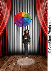 pretas, mulher americana africana, ligado, teatro, fase