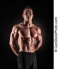 pretas, muscular, fundo, homem