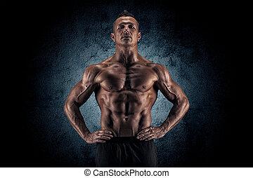 pretas, muscular, fundo, sujeito