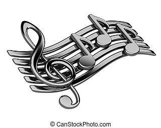 pretas, musical, notas.