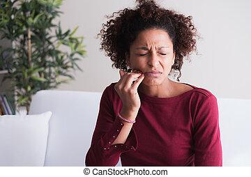 pretas, necessidades, mulher, visita, odontólogo