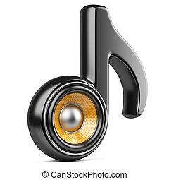 pretas, nota, e, speaker., áudio, conce