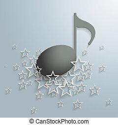 pretas, nota música, branca, estrelas