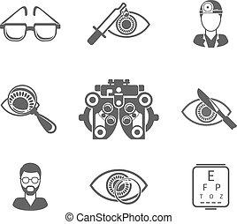 pretas, optometry, jogo, oculist, ícones