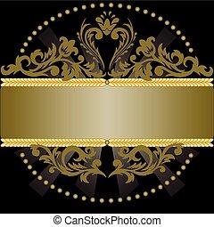 pretas, ornamento, fundo, bronze