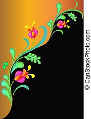 pretas, ouro, fundo, floral