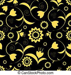 pretas, padrão floral, abstratos, seamless