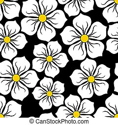 pretas, padrão, flores brancas, imagem, fundo, seamless