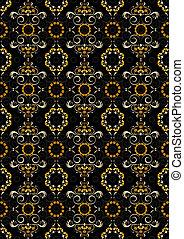 pretas, padrão, laranja, seamless