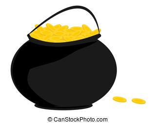 pretas, panela ouro, moedas