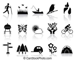 pretas, parque, e, jardim, ícones, jogo